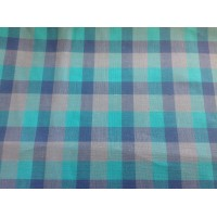Blue, turquoise and lilac checked cotton fabric